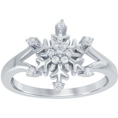 Enchanted Disney Diamond Elsa Snowflake Ring in Sterling Silver ($249) ❤ liked on Polyvore featuring jewelry, rings, white, snowflake diamond ring, round ring, white jewelry, white ring and disney rings