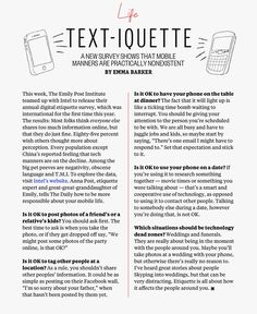 Etiquette and Manners - Cell Phone  etiquette and manners.  charmetiquette.com