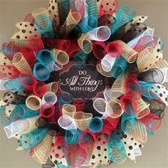 "26"", 'Do All Things With Love' Spiral Mesh Everyday Wreath in Red, Tan Burlap, Teal, Black & White with Black Polka Dotted Burlap Ribbon: $65 Made by Red-y Made Wreaths. Like & Follow us on Facebook https://www.facebook.com/pages/Red-y-Made-Wreaths/193750437415618 or Visit us at http://www.redymadewreaths.com/"
