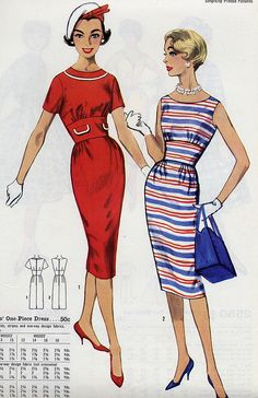 jaunty hat by Millie Motts, via Flickr 60s sheath dress red white stripes blue hat shoes purse