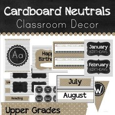 This classroom decor pack in neutral white, cardboard, gray, and black will help you have a classroom all matching in neutrals and allow you to add whatever other colors you want to go with it. $