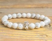 White howlite beaded bracelet with 925 sterling silver Lion with crown, stretchy bracelet made to order yoga bracelet
