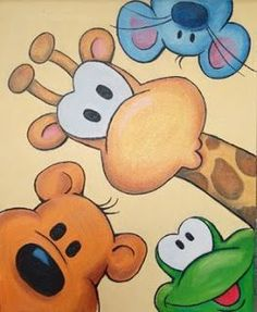 20 Enchanting Canvas Painting Ideas for Disney Drawings, Cute Drawings, Animal Drawings, Easy Drawings For Kids, Colorful Drawings, Art For Kids, Crafts For Kids, Doodle Art, Cute Art