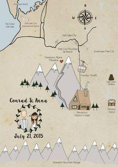 illustrated wedding maps by Blanka Biernat