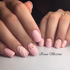 Beach nails, Beautiful summer nails, Interesting nails, Nails with rhinestones, Original nails, Pink manicure ideas, Pink shellac, Polka dot nails