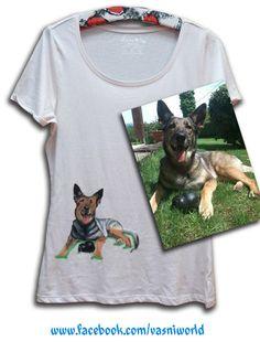 Retrato de un perro pintado a mano en una camiseta.  www.facebook.com/vasniworld
