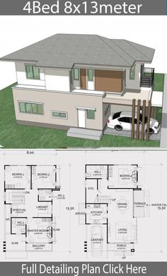 Home Design Plan with 4 Bedrooms. – Home Ideas Home Design Plan mit 4 Schlafzimmern. Sims House Plans, House Layout Plans, Modern House Plans, House Layouts, House Floor Plans, 2 Storey House Design, Duplex House Design, Modern House Design, Home Design Floor Plans