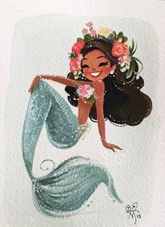 Leilana // This is a digital print of an original gouache painting.*It will come printed on Epson Velvet Fine Art Paper and shipped in a stiff envelope with // Black Mermaid, Mermaid Art, The Little Mermaid, Watercolor Mermaid, Mermaid Drawings, Art Drawings, Drawings Of Mermaids, Illustrations, Illustration Art