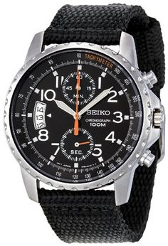 Seiko Men's SNN079P2 Chronograph Stainless Steel Watch With Black Cloth Band