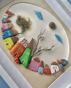 ROCKS: painted rocks as houses Pebble Painting, Pebble Art, Stone Painting, Hobbies And Crafts, Diy And Crafts, Crafts For Kids, Arts And Crafts, Yarn Crafts, Stone Crafts