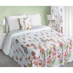 Dekorativní bílý oboustranný přehoz na manželskou postel s květinovým vzorem - dumdekorace.cz Comforters, Blanket, Furniture, Vintage, Design, Home Decor, Creature Comforts, Quilts, Decoration Home