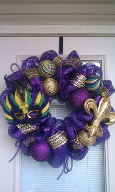 Mardi Gras Mesh Deco Wreath by SouthernWreathDesign on Etsy