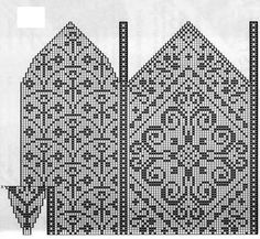 Scissosrs keep; arches pattern could be bargello? Knitted Mittens Pattern, Fair Isle Knitting Patterns, Knit Mittens, Knitting Charts, Knitted Gloves, Filet Crochet, Crochet Motif, Crochet Patterns, Norwegian Knitting