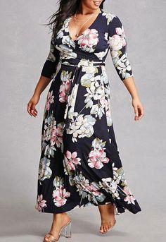 New Plus Size Women Floral Print V-Neck Three Quarter Sleeve Boho Long Dress Lady Evening Party Long Maxi Dress Floral Dresses With Sleeves, Floral Maxi Dress, Printed Dresses, Maxi Dresses, Best Plus Size Dresses, Plus Size Outfits, Curvy Fashion, Plus Size Fashion, Fashion Sale