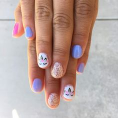 Unicorn nails Little girl nails Gel polish designs hairandnailsbykyra Cute Kids Nails, Nail Art For Kids, Unicorn Nails Designs, Unicorn Nail Art, Unicorn Kids, Little Girl Nails, Girls Nails, Kid Nails, Baby Girl Nails