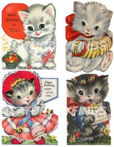 Vintage Greeting Card Birthday Girl No. 1 of 9 by saturdayfinds, $3.25