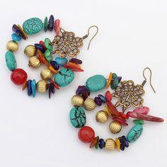 Baisse Earirings Rétro Vintage Alliage Femmes Argent-plaqué Or Plaqué de Bohême Long Boucles Balancent Boucles D'oreilles pour les Femmes