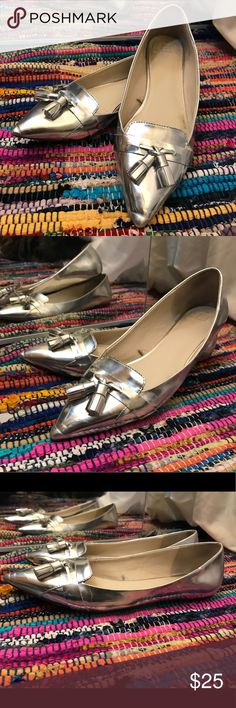 Zara silver flats Very cute Zara Basic silver flats with tassels. In good used condition. Zara size 41, US size 10 Zara Shoes Flats & Loafers