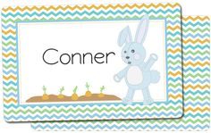 Personalized Easter placemat for kids. Chevron design with a cute blue bunny.