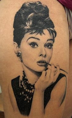 Tattoo by Xavier Garcia Boix. Sweet jesus is that good or what? Audrey Hepburn