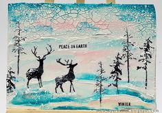 Layers of ink - Winter Deer Canvas Tutorial by Anna-Karin. Made with Simon Says Stamp exclusive STAMPtember stamp and stencil set by Tim Holtz. Ranger inks and paints.