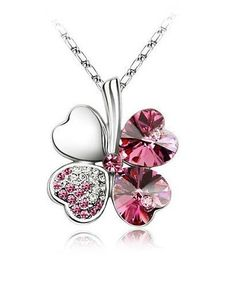 Pink Four Leaf Clover Swarovski Elements Necklace, starting at $8. Want to join the auction fun? RSVP: http://tophatter.com/auctions/9152.