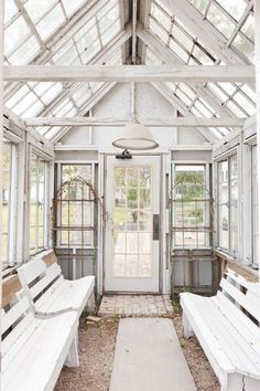 White conservatory summer house mmmmm via A Beach Cottage Garden Cottage, Home And Garden, Dream Garden, Outdoor Rooms, Outdoor Living, Casas Shabby Chic, Homestead Gardens, She Sheds, Contemporary Garden
