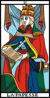 Arcano 2. La Papisa.  La Papesse.  Tarot de Marsella.
