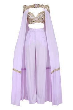 Lavender cape pant set available only at Pernias Pop Up Shop. Indian Fashion Dresses, Indian Designer Outfits, Indian Outfits, Designer Dresses, Kpop Fashion Outfits, Stage Outfits, Classy Outfits, Chic Outfits, Look Fashion