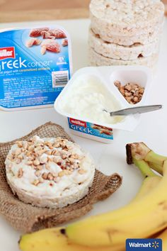 Banana and Almond Yogurt Topped Rice Cakes | Walmart – Rice cakes are the perfect base for a quick, on-the-go meal. Made with delicious goodness of whole-grain, brown rice and baked to perfection, these yummy rice cakes have only 35 calories and 8 whole grains. Mash up half a banana, mix it with the creamy yogurt from Muller Greek Corner, top onto your rice cake and sprinkle with caramelized almonds for a quick, 3 ingredient breakfast!