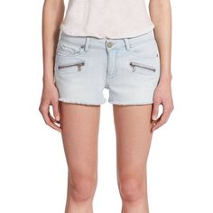 Paige Indio Zip Denim Shorts (219.065 COP) ❤ liked on Polyvore featuring shorts, apparel & accessories, powell, stretchy shorts, torn shorts, distressed shorts, stretch shorts and distressed denim shorts