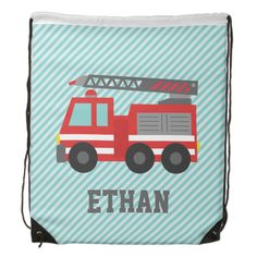 A drawstring bag with a cute red fire truck that has white stripes on its side and a retractable ladder with hose. Slanted blue stripes for background. Colour palette of red, blue, grey and white. Personalise with child's name. Great for kids, especially boys, who love vehicle toys and fire engines! #fire #truck #fire #engine #trucks #vehicles #red #fire #fighting #for #boys #for #kids #for #the #little #ones #blue #stripes #transportation #name #cute #transport #for #children #firemen