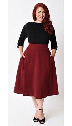 Unique Vintage Plus Size Retro Style Burgundy High Waist Vivien Swing Skirt - Plus Size Skirts - Ideas of Plus Size Skirts Curvy Outfits, Mode Outfits, Plus Size Outfits, Fashion Outfits, Curvy Fashion, Retro Fashion, Plus Size Fashion, Womens Fashion, Swing Rock