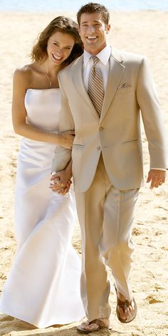 #groom beige wedding suit for a beach wedding  ... For a Dress Code for Grooms ... https://itunes.apple.com/us/app/the-gold-wedding-planner/id498112599?ls=1=8  ♥  The Gold Wedding Planner iPhone App ♥