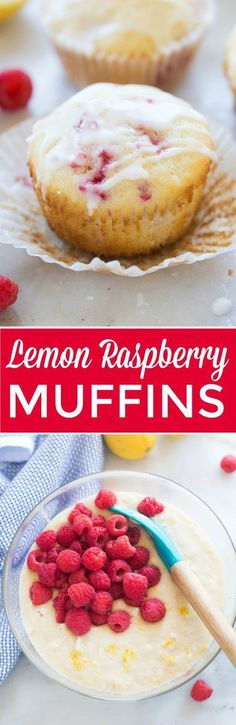 We LOVE these muffins! Deliciously light, fluffy and moist Lemon Raspberry Muffins. This easy recipe is a winner!