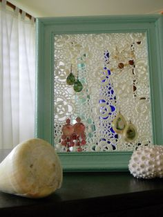 Earring holder from picture frame and doily. I totally did this and it's so pretty!! works really great, just a good as mesh or grate.