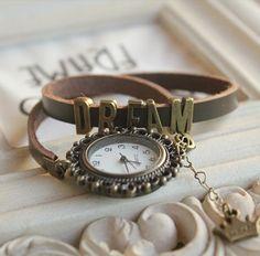 Vintage wrist watch — Retro female table lady watch chains rivets punk style bracelet watch (WAT0078)