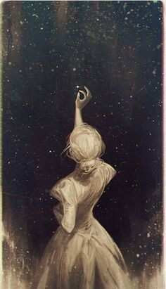"""The Old Astronomer by Charlie-Bowater on DeviantArt.""""Though my soul may set in darkness, it will rise in perfect light; I have loved the stars too fondly to be fearful of the night."""" from the poem 'The Old Astronomer' by Sarah Williams. Art And Illustration, Landscape Illustration, Art Inspo, The Old Astronomer, Wow Art, Art Design, Oeuvre D'art, Painting & Drawing, Watercolor Paintings"""