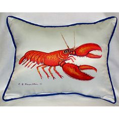 Shop Coastal, Nautical, and Beach Themed Indoor-Outdoor Pillows designed by Betsy Drake at Coastal Style Gifts! Red Lobster Pillow- Large indoor/outdoor pillow. These versatile pillows are equally at