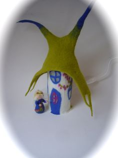Table Lamp cover  Fairyhouse  Wet Felted.Fairy by FilzArts on Etsy, $62.00
