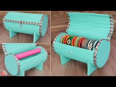 Best Out Of Waste Idea. DIY Bangle Box Making at Home ! Stay tuned with us for more quality diy art and craft v. Cardboard Organizer, Cardboard Box Crafts, Newspaper Crafts, Diy With Cardboard Boxes, Art And Craft Videos, Diy Arts And Crafts, Diy Home Crafts, Best From Waste Ideas, Bangle Box