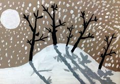 4th grade winter landscape. Teaching about light and shadow, tree forms, and spatial relationships in landscape.