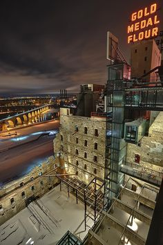 Mill City Museum, Minneapolis, MN.  I love how the modern glass facade blends into the ruins of the old burned down Washburn A Mill.  The mixture of old and new works really well for this building.