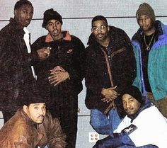 The beatsmiths behind Nas' pinnacle debut, 'Illmatic.' Clockwise from bottom left: L.E.S., Pete Rock, Nas, Large Professor, DJ Premier, and Q-Tip of A Tribe Called Quest.