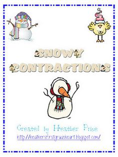 Snowy Contractions Freebie- Pinned by @PediaStaff – Please visit http://ht.ly/63sNt for all (hundreds of) our pediatric therapy pins