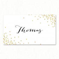 """Wedding place card - """"Champagne"""", confetti, gold, romantic, bohemia, party, bubbles, modern - Paper and Love - www.paperandlove.be __ Marque-place de mariage - """"Confetti"""", doré, or, romantique, festif, bulles, bohème, moderne, original - Paper and Love - www.paperandlove.be"""