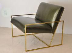 Pair Of Polished Brass Lawson Fenning  Arm Chairs | From a unique collection of antique and modern chairs at http://www.1stdibs.com/furniture/seating/chairs/