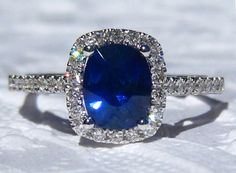 Ceylon Blue Sapphire in White Gold Diamond Halo Engagement Ring, by JuliaBJewelry on Etsy