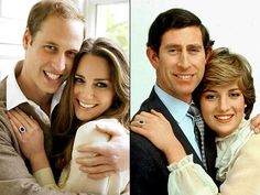 The official engagement photos of William & Kate and Charles & Diana.
