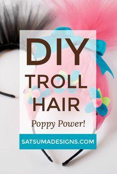 DIY Troll Hair | trolls birthday party | poppy troll hair | troll hair headband
